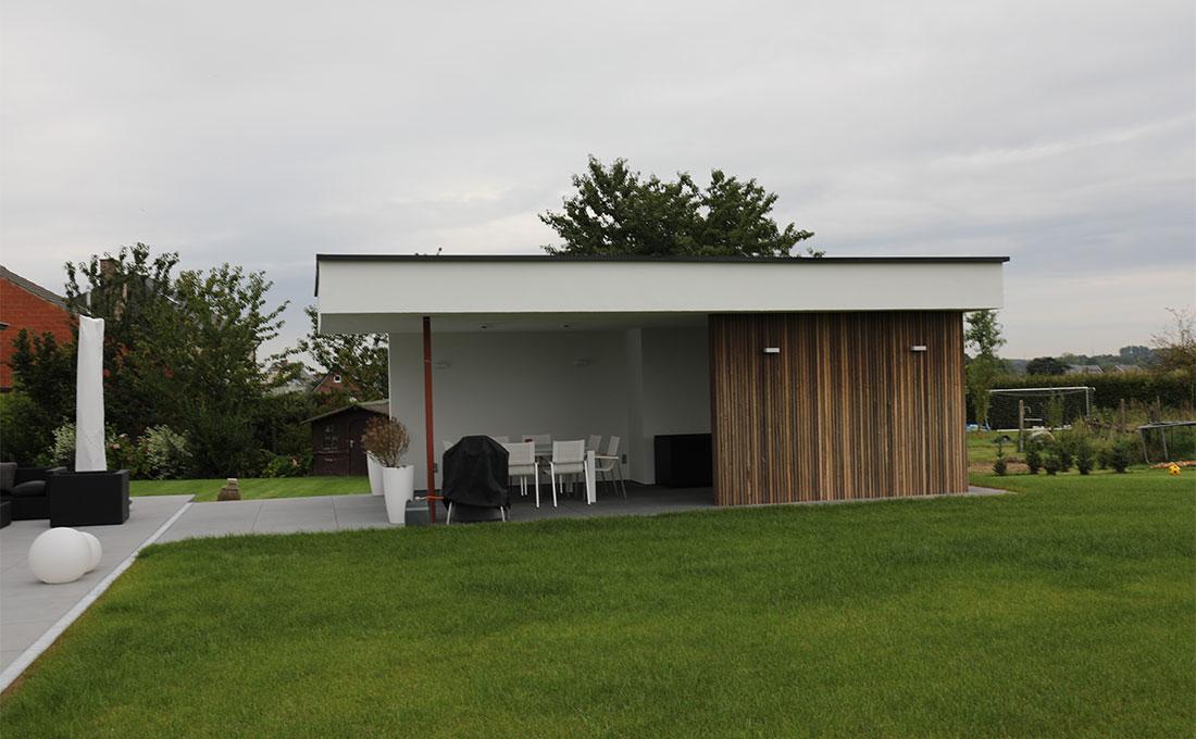 Garage met veranda modern tuinhuis met overdekt terras