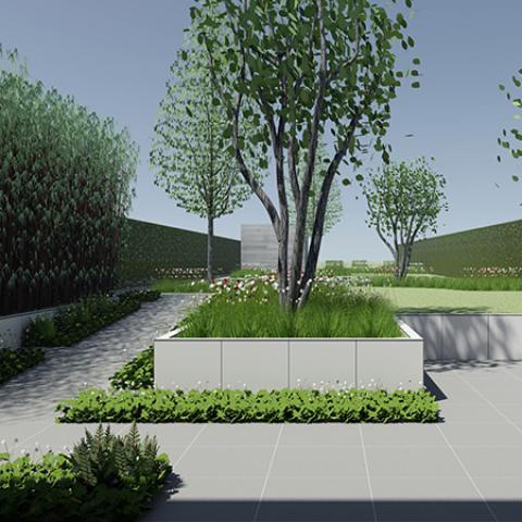 Tuinontwerp lange smalle tuin door tuinarchitect stefaan for Voortuin strak modern